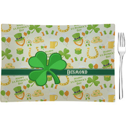 St. Patrick's Day Rectangular Glass Appetizer / Dessert Plate - Single or Set (Personalized)