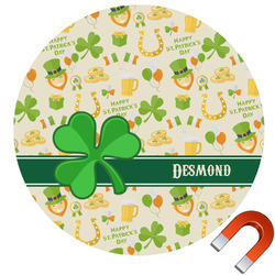 St. Patrick's Day Round Car Magnet (Personalized)