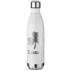 St. Patrick's Day White Water Bottle - 26 oz. Stainless Steel (Personalized)