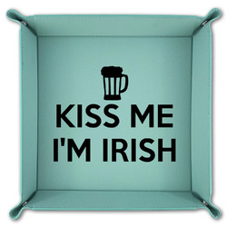 Kiss Me I'm Irish Teal Faux Leather Valet Tray