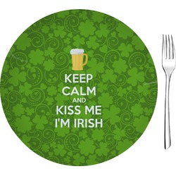 "Kiss Me I'm Irish 8"" Glass Appetizer / Dessert Plates - Single or Set (Personalized)"