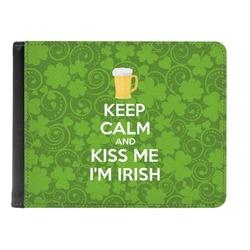 Kiss Me I'm Irish Genuine Leather Men's Bi-fold Wallet (Personalized)