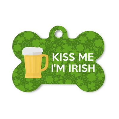 Kiss Me I'm Irish Bone Shaped Dog Tag (Personalized)