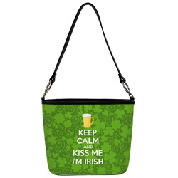 Kiss Me I'm Irish Bucket Bag w/ Genuine Leather Trim (Personalized)