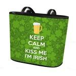Kiss Me I'm Irish Bucket Tote w/ Genuine Leather Trim (Personalized)