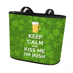 Kiss Me I'm Irish Bucket Tote w/ Genuine Leather Trim (Personalized)