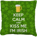 Kiss Me I'm Irish Faux-Linen Throw Pillow (Personalized)