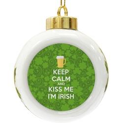 Kiss Me I'm Irish Ceramic Ball Ornament (Personalized)
