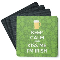 Kiss Me I'm Irish 4 Square Coasters - Rubber Backed (Personalized)