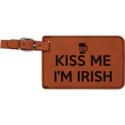 Kiss Me I'm Irish Leatherette Luggage Tag (Personalized)