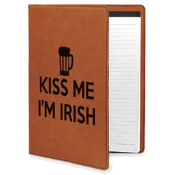 Kiss Me I'm Irish Leatherette Portfolio with Notepad (Personalized)
