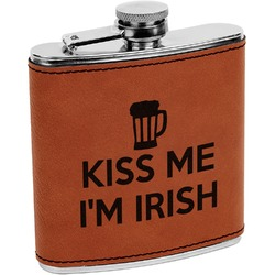 Kiss Me I'm Irish Leatherette Wrapped Stainless Steel Flask (Personalized)