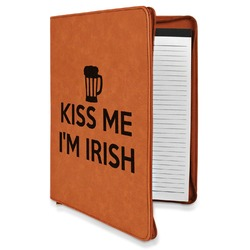 Kiss Me I'm Irish Leatherette Zipper Portfolio with Notepad (Personalized)