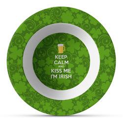 Kiss Me I'm Irish Plastic Bowl - Microwave Safe - Composite Polymer (Personalized)