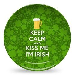 Kiss Me I'm Irish Microwave Safe Plastic Plate - Composite Polymer (Personalized)