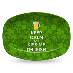 Kiss Me I'm Irish Plastic Platter - Microwave & Oven Safe Composite Polymer (Personalized)