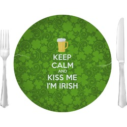 "Kiss Me I'm Irish 10"" Glass Lunch / Dinner Plates - Single or Set (Personalized)"