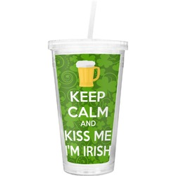 Kiss Me I'm Irish Double Wall Tumbler with Straw (Personalized)