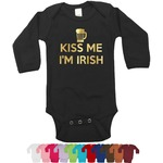 Kiss Me I'm Irish Foil Bodysuit - Long Sleeves - Gold, Silver or Rose Gold (Personalized)
