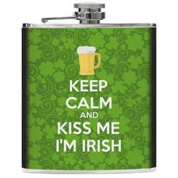 Kiss Me I'm Irish Genuine Leather Flask (Personalized)