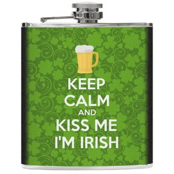 Kiss Me I'm Irish Genuine Leather Flask (Personalized)