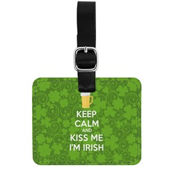 Kiss Me I'm Irish Genuine Leather Rectangular  Luggage Tag (Personalized)