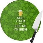 Kiss Me I'm Irish Round Glass Cutting Board (Personalized)