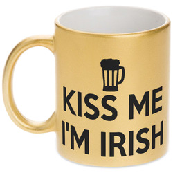 Kiss Me I'm Irish Gold Mug (Personalized)