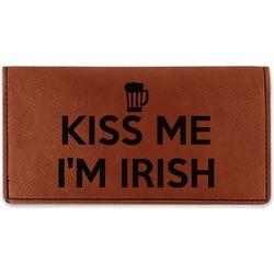 Kiss Me I'm Irish Leatherette Checkbook Holder - Double Sided (Personalized)