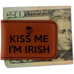 Kiss Me I'm Irish Leatherette Magnetic Money Clip - Single Sided (Personalized)