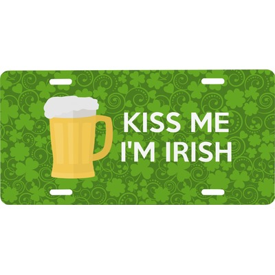 Kiss Me I'm Irish Front License Plate (Personalized)
