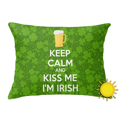Kiss Me I'm Irish Outdoor Throw Pillow (Rectangular) (Personalized)