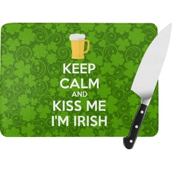 Kiss Me I'm Irish Rectangular Glass Cutting Board (Personalized)