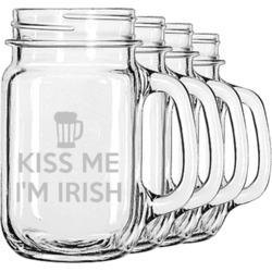 Kiss Me I'm Irish Mason Jar Mugs (Set of 4) (Personalized)