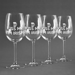 Kiss Me I'm Irish Wine Glasses (Set of 4) (Personalized)