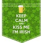 Kiss Me I'm Irish Iron On Faux Pocket (Personalized)