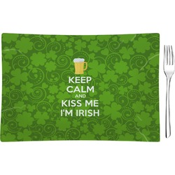 Kiss Me I'm Irish Glass Rectangular Appetizer / Dessert Plate - Single or Set (Personalized)