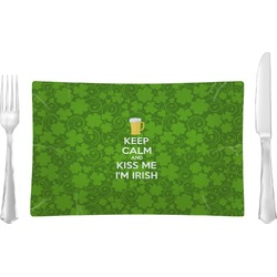 Kiss Me I'm Irish Glass Rectangular Lunch / Dinner Plate - Single or Set (Personalized)