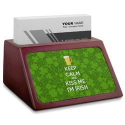 Kiss Me I'm Irish Red Mahogany Business Card Holder (Personalized)