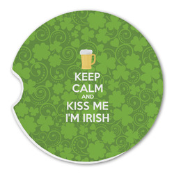Kiss Me I'm Irish Sandstone Car Coasters (Personalized)