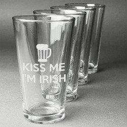 Kiss Me I'm Irish Beer Glasses (Set of 4) (Personalized)