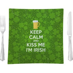 """Kiss Me I'm Irish 9.5"""" Glass Square Lunch / Dinner Plate- Single or Set of 4 (Personalized)"""