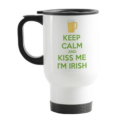 Kiss Me I'm Irish Stainless Steel Travel Mug with Handle