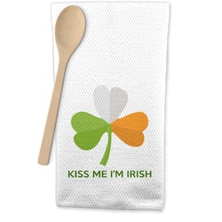 Kiss Me I'm Irish Waffle Weave Kitchen Towel (Personalized)