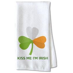 Kiss Me I'm Irish Waffle Weave Kitchen Towel - Partial Print