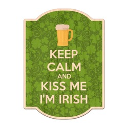 Kiss Me I'm Irish Genuine Maple or Cherry Wood Sticker (Personalized)