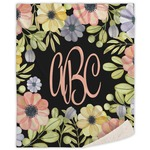 Boho Floral Sherpa Throw Blanket (Personalized)