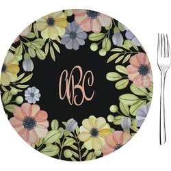 "Boho Floral Glass Appetizer / Dessert Plates 8"" - Single or Set (Personalized)"