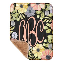 """Boho Floral Sherpa Baby Blanket 30"""" x 40"""" (Personalized)"""