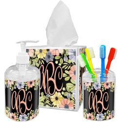 Boho Floral Acrylic Bathroom Accessories Set w/ Monogram
